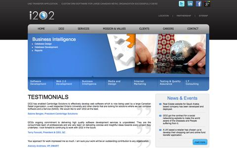 Screenshot of Testimonials Page i2o2.com - Software/Web/Mobile Application Development and Design - captured Dec. 17, 2015