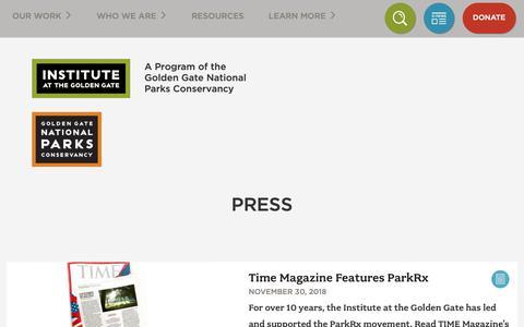 Screenshot of Press Page instituteatgoldengate.org - Press | Institute at Golden Gate - captured Dec. 19, 2018