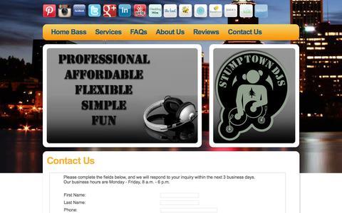 Screenshot of Contact Page stumptowndjs.com - Portland DJ, Contact Us - STUMPTOWN DJs - captured Oct. 9, 2014