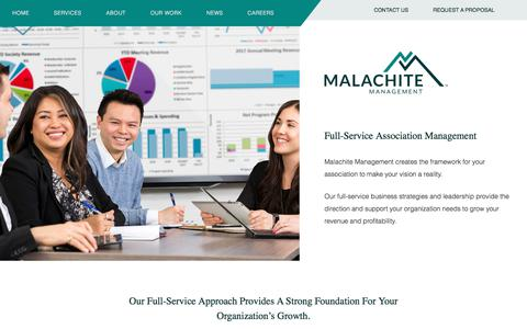 Screenshot of Services Page malachite-mgmt.com - Association Management Services by Malachite Management - captured Oct. 5, 2017