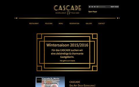 Screenshot of Home Page cascade-stmoritz.ch - Restaurant Cascade St. Moritz - captured Sept. 6, 2015
