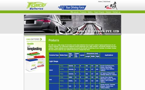 Screenshot of Products Page forcebatteries.com.pk - Force Batteries Pvt. Ltd. - captured Oct. 6, 2014