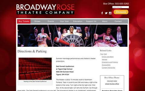 Screenshot of Maps & Directions Page broadwayrose.org - Directions and Parking | Broadway Rose Theatre Company - captured Oct. 11, 2017