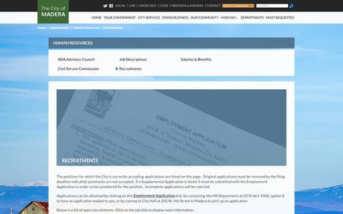 Screenshot of Jobs Page ca.gov - Job Recruitments - City of Madera - captured Aug. 1, 2017