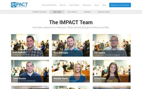 Screenshot of Team Page impactbnd.com - Our Inbound Marketing Team | IMPACT - captured Sept. 18, 2014