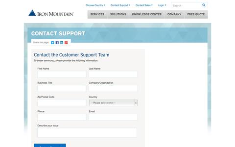 Screenshot of Support Page ironmountain.com - Support Contact Form - captured Oct. 10, 2014