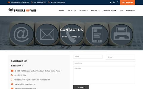 Screenshot of Contact Page spidersofweb.com - Customize website designing company Delhi, Freelancer Web Designers Delhi - captured Oct. 20, 2018