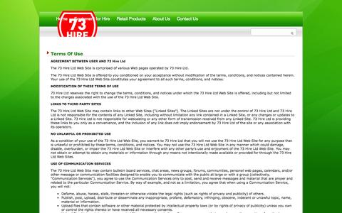 Screenshot of Terms Page 73hire.co.nz - 73 Hire :: Equipment & Plant Hire, Darfield, Canterbury New Zealand - captured Oct. 7, 2014