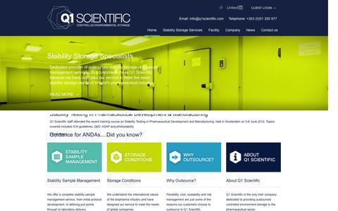 Screenshot of Home Page q1scientific.com - Q1 Scientific - Home - Q1 Scientific - Stability Storage - captured Oct. 1, 2014