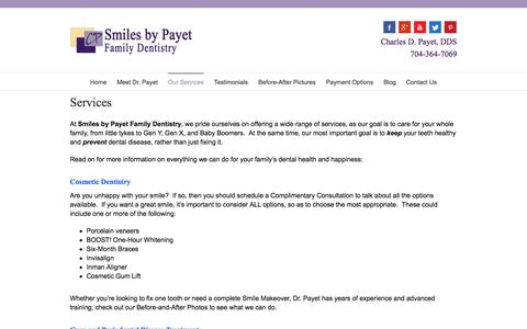 Screenshot of Services Page smilesbypayet.com - Services - Charlotte Dentist | Cosmetic, Laser, Family Dentistry - captured Nov. 4, 2016