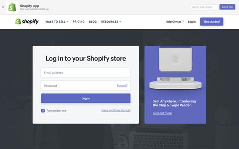 Screenshot of Login Page shopify.com - Login — Shopify - captured April 14, 2018