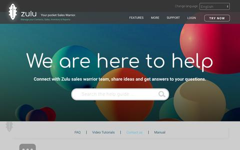 Screenshot of Contact Page zulusalesapp.com - Contact us for help   Zulu - captured July 9, 2018