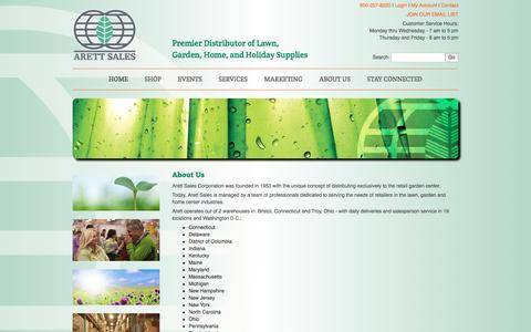 Screenshot of About Page arett.com - Arett Sales - Premier Distributor of Lawn, Garden, Home, and Holiday Supplies | 800 257-8220 - captured Nov. 21, 2016