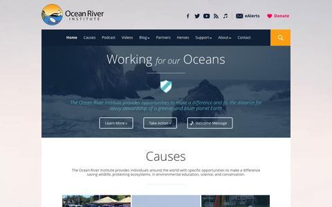Screenshot of Home Page oceanriver.org - Ocean River Institute | Making a Difference on Planet Earth - captured Oct. 6, 2014