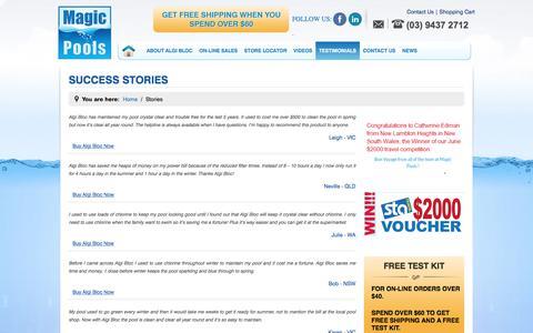 Screenshot of Testimonials Page magicpools.com - Stories | Magic Pools - captured July 27, 2018