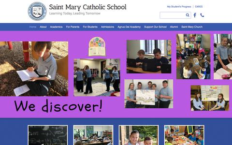 Screenshot of Home Page smsk-8.org - Saint Mary Catholic School - Schwenksville, PA - captured July 2, 2018