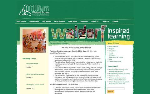 Screenshot of Jobs Page trilliumwaldorfschool.com - Trillium Waldorf School Career Opportunities » Trillium Waldorf School - captured Oct. 8, 2014