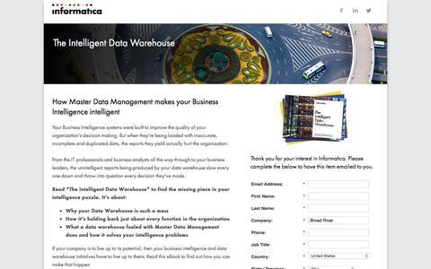 Screenshot of Landing Page informatica.com - The Intelligent Data Warehouse - captured June 16, 2016