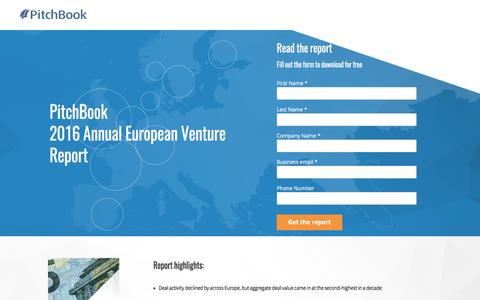 Screenshot of Landing Page pitchbook.com - PitchBook 2016 Annual European Venture Report - captured April 20, 2017