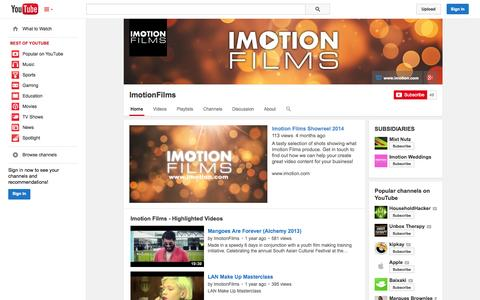 Screenshot of YouTube Page youtube.com - ImotionFilms  - YouTube - captured Oct. 23, 2014