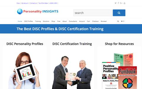Screenshot of Home Page personality-insights.com - Personality Insights, DISC Personality Profiles, DISC Training - captured Jan. 21, 2018