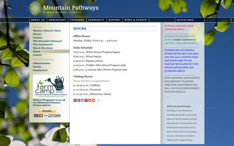 Screenshot of Hours Page mountainpathways.org - Hours |  Mountain Pathways - captured June 20, 2016