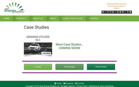 Screenshot of Case Studies Page saveenergysystems.com - Case Studies - Client Portfolios - Save Energy Systems - captured Oct. 2, 2018