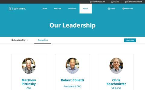 Screenshot of Team Page parchment.com - Leadership | Parchment - captured Feb. 17, 2020