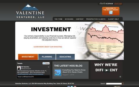 Screenshot of Home Page valentineventures.com - Wealth Management Firm – Bend Oregon Investment Advisors | Valentine Ventures, LLC - captured Aug. 16, 2015
