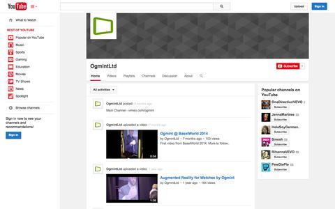 Screenshot of YouTube Page youtube.com - OgmintLtd  - YouTube - captured Oct. 25, 2014