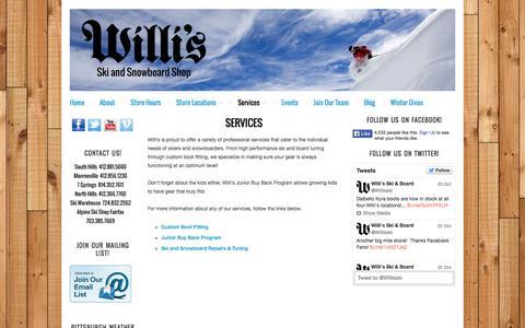 Screenshot of Services Page willisskiandboard.com - Services : Willi's Ski and Snowboard Shop - captured Oct. 26, 2014