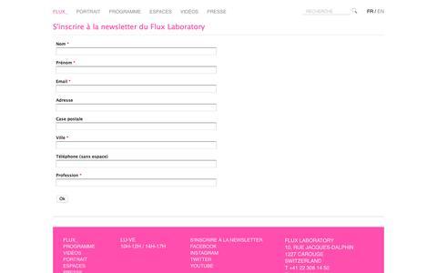 Screenshot of Signup Page fluxlaboratory.com - Flux - Newsletter - captured Nov. 24, 2016