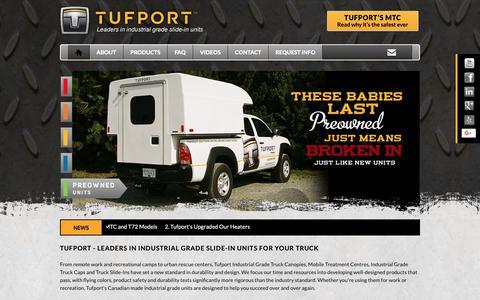 Screenshot of Home Page tufport.com - Tufport - Leaders in Industrial Grade Slide-in Units for your Truck - captured Nov. 18, 2018