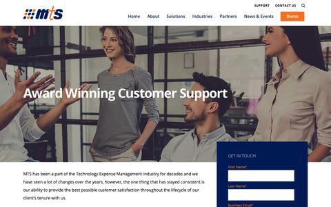 Screenshot of Support Page mtsint.com - SUPPORT |  MTS - captured Oct. 17, 2018