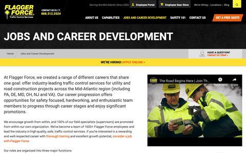 Screenshot of Jobs Page flaggerforce.com - Career Development - Flagger and Laborer Jobs in PA, MD, DE, & VA - captured Nov. 14, 2018