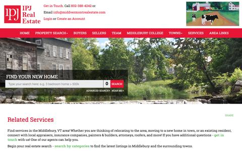 Screenshot of Services Page middvermontrealestate.com - Middlebury Vermont Real Estate, Ingrid Punderson Jackson, Related Services - captured Oct. 26, 2017