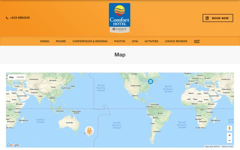 Screenshot of Maps & Directions Page benvenuehotel.co.nz - Map – Comfort Hotel Benvenue – Timaru – New Zealand - captured June 30, 2018