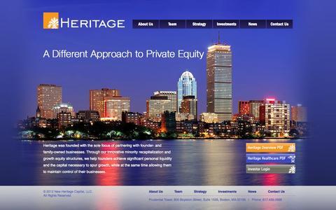 Screenshot of Home Page newheritagecapital.com - New Heritage Capital :: Home - captured Oct. 9, 2014