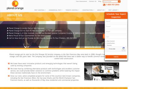 Screenshot of About Page planetorange.com - Termite & Pest Control Companies | About Us | Planet Orange - captured Dec. 10, 2015