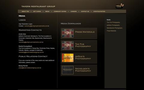 Screenshot of Press Page tavernrestaurantgroup.com - Media  | Tavern Restaurant Group - captured Oct. 7, 2014