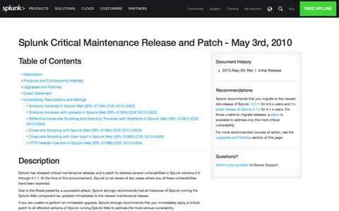 Splunk Critical Maintenance Release and Patch - May 3rd, 2010 | Splunk