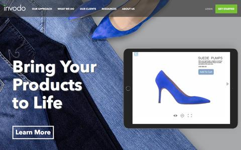 Screenshot of Home Page invodo.com - Video & Visual Content that Turns Online Shoppers Into Buyers | Invodo - captured April 13, 2016