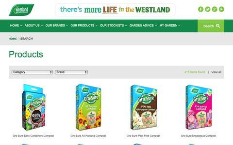 Screenshot of Products Page gardenhealth.com - Westland Garden Health - captured July 24, 2015