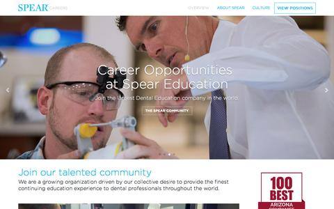 Screenshot of Jobs Page speareducation.com - Careers | Spear Education - captured March 5, 2018