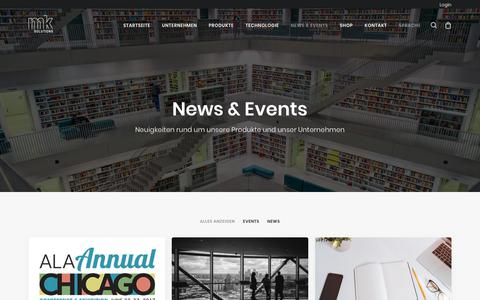Screenshot of Press Page mk-solutions.com - News & Events - mk Solutions - captured Oct. 18, 2018