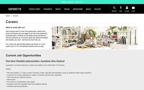 Screenshot of Jobs Page superette.co.nz - Careers  - Superette | Your Fashion Destination. - captured Oct. 1, 2014