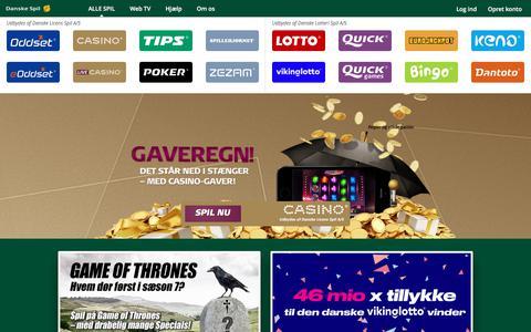 Screenshot of Home Page danskespil.dk - Danske Spil - Hele Danmarks spilselskab - captured June 20, 2017