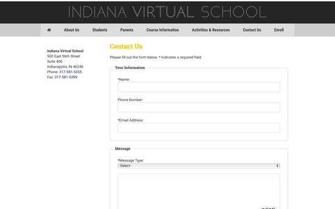 Screenshot of Contact Page indianavirtual.com - Contact Us | Tuition-Free Online School | Indiana Virtual School - captured Oct. 11, 2018