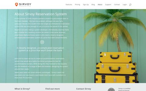 Screenshot of About Page sirvoy.com - About Sirvoy Reservation System | Sirvoy Hotel Booking System - captured Jan. 11, 2016