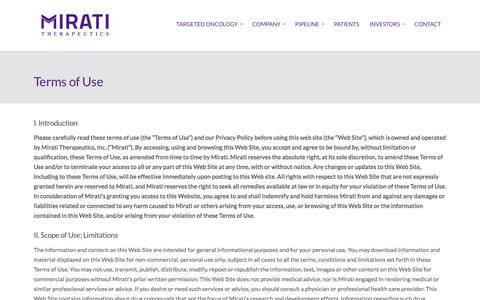 Screenshot of Terms Page mirati.com - Terms of Use - Mirati Therapeutics, Inc - captured Nov. 28, 2016